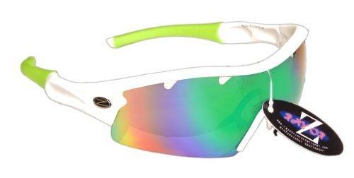 Rayzor professionali leggeri UV400 Bianco Sport Wrap ciclismo da sole, con un blu / verde Iridium obiettivo rispecchiato.