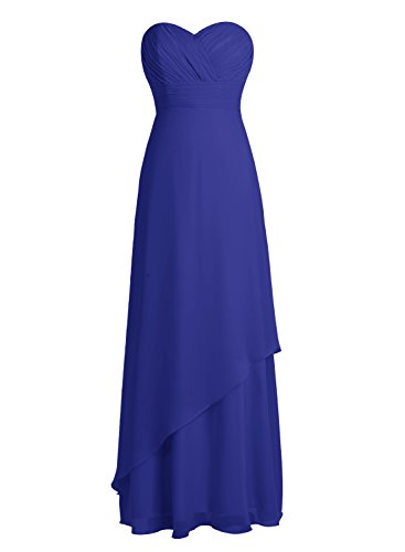 Bbonlinedress Robe de cérémonie Robe de demoiselle d'honneur en mousseline longueur ras du sol Bleu Saphir