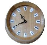 Pendule Horloge Tonneau en Chêne
