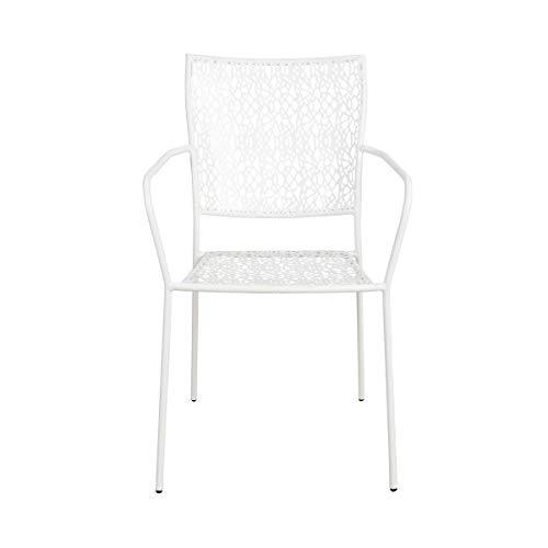 BUTLERS Nancy Stapelstuhl mit Armlehnen in Weiß 53x46x89 - Metall-Stuhl aus Eisen - Gartenstuhl für Balkon, Terrasse