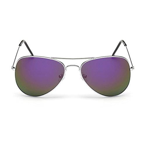 QHGstore Unisex classiche da uomo / donne della struttura del metallo Aviator Occhiali da sole Retro esterna Occhiali di corsa del monocolo del nastro telaio e viola