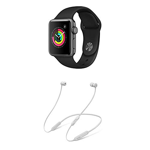 AppleWatch Series3 (GPS) con Cassa 38mm inAlluminio Grigio Siderale eCinturino Sport Nero + BeatsX Auricolari - Satin Argento