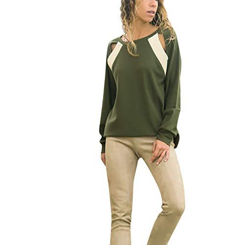 Göttin Kostüm Grüne - ESAILQ Damen Beiläufig Oberteile Openwork Stitching Rundhals Langarmbluse(Medium,Grün)
