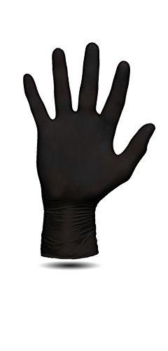 100 Stück Nitril Einweghandschuhe, Einmalhandschuhe puderfreie und unsterile Kochhandschuhe Tätowierhandschuhe Tattoo Handschuhe, (L,schwarz)