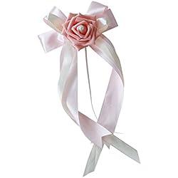 Lazo de Flor para Boda o Decoración de Coche en color ROSA - Más colores a elegir
