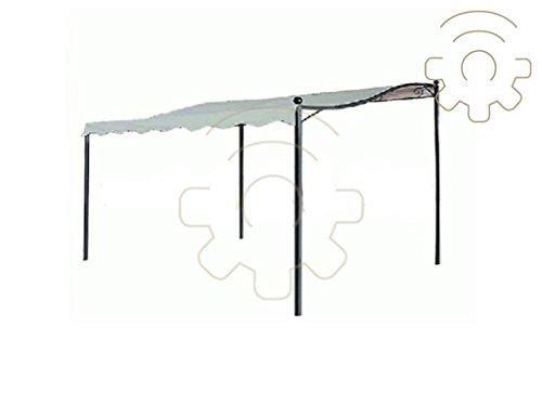 Life in Garden Tonnelle Parasol Patio 3 x 3 MT Couleur Ecru avec châssis métal Verni à poussières Complet moustiquaires extérieur Jardin terrasse
