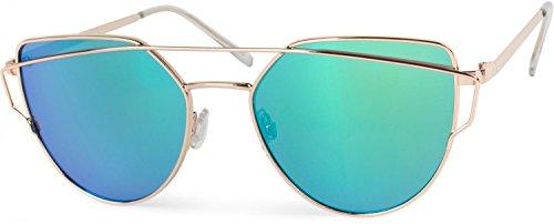 styleBREAKER Sonnenbrille mit Katzenaugen Cat Eye Gläsern und Doppelrahmen Bügel, Federscharnier, Damen 09020069, Farbe:Gestell Gold/Glas Grün-Blau verspiegelt