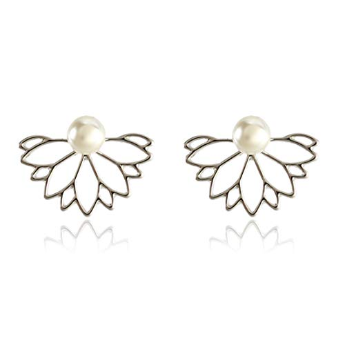 QIR-E Women\'s zarte Ohrringe,Perlen vorne und hinten Ohrstecker, Silber