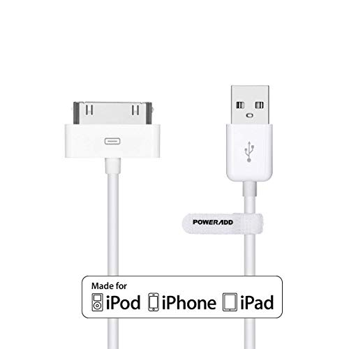 POWERADD Apple MFi Zertifiziert 1,2m USB Kabel mit 30 Pin Anschluss Apple Synchronisieren-und Laden-Kabel Datenkabel für iPhone 4 4S, iPad, iPod Touch, iPod Nano Ipod Classic 3. Generation