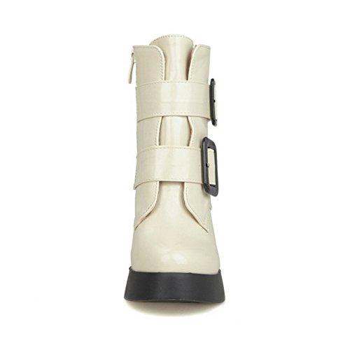 AllhqFashion Damen Blend-Materialien Rund Zehe Rein Niedrig-Spitze Hoher Absatz Stiefel Cremefarben
