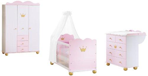 Pinolino 101655G - Kinderzimmer Prinzessin Karolin I, mit 3-türigem Kleiderschrank, Bett und...