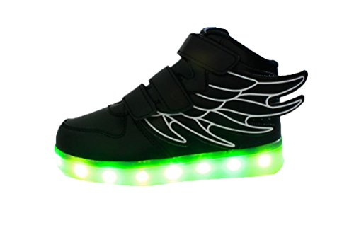 Ake Children LED Light Schuhe USB Charging Flashing Sport Wing Shoes Luminous Sneakers Skidproof Black