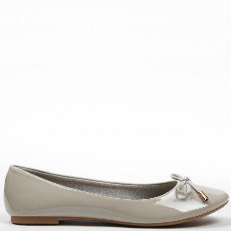Ideal Shoes - Ballerines vernis et colorées Tahani Gris