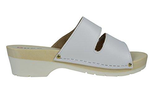 Buxa Zoccoli / Sandali per le Donne in Pelle con Legno / Gomma con Doppio Velcro Cinghia Bianco