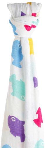 Cuski - Rango Multiusos swaddle muselina bebé de bambú, tamaño XL, diseño: Fish Lucky