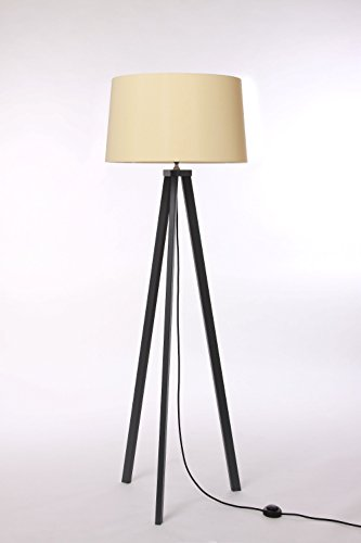 Stehleuchte 3-Bein, Eiche schiefer, Lampenschirm Kegel, Farbe auf Wunsch