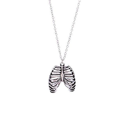 Lureme menschlichen Brustkorb Anatomie Halskette Antik Silber Brust Knochen Skelett Anhänger mit Kette (nl005872) (Halloween Brustkorb)
