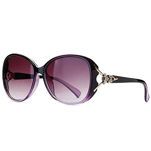 Herren Sonnenbrillen Mode Fox Head Sonnenbrillen Damen Big Frame Polarisierte Gläser Klassische vielseitige Sonnenbrillen LTJHJD (Color : Lila, Size : Kostenlos)