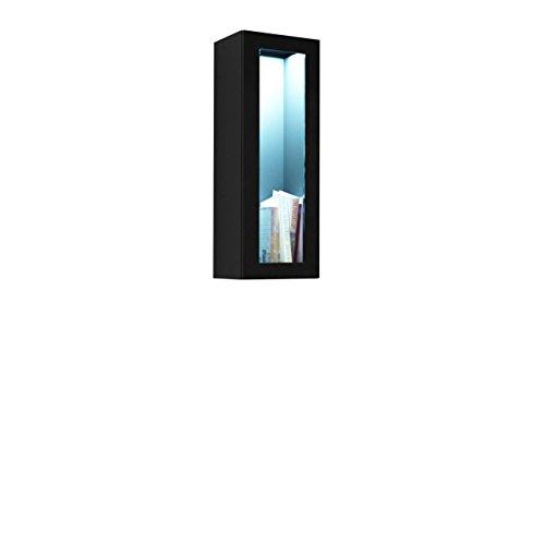 Mirjan24  Hängevitrine Vigo Glas 90, Vitrinenschrank, Grifflose Öffnen, Farbauswahl, Stauraumvitrine Hochschrank, Wohnzimmer Highboard, Schrank, Vitrine (ohne Beleuchtung, Schwarz/Schwarz Hochglanz)