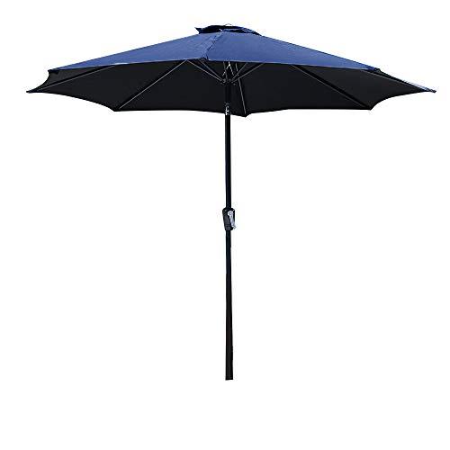 CLICK MEE Sonnenschirm für den Garten, 3 m, UV-30 + Kurbel, rostfrei, korrosionsfrei, ideal für Garten, Hotel, Markt, Saloon, Pool oder Strand etc. (Markt Sonnenschirm Blau)
