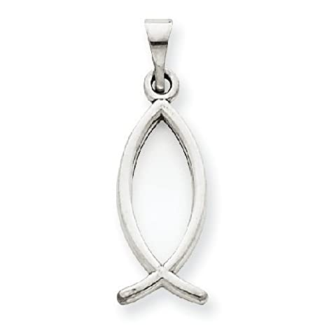 PriceRock 14k White Gold Ichthus Fish Pendant