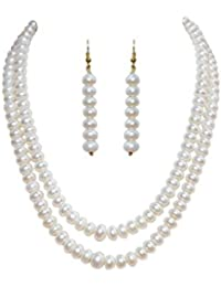 Classique Designer Silver Alloy with Gold Plated Button Pearl Necklace Set for Women(cp004)