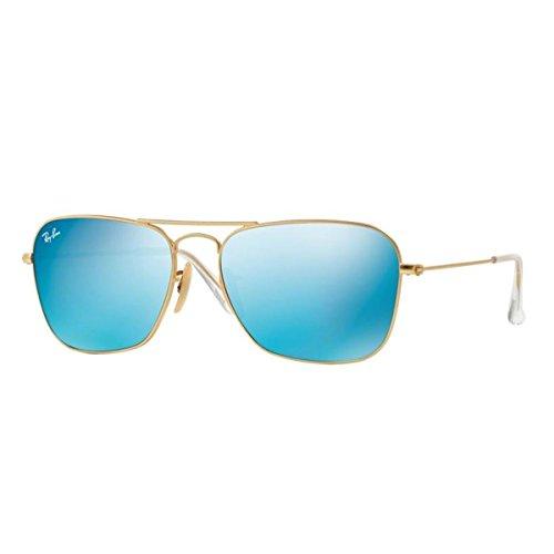 Ray-ban Herren RB3136 Sonnenbrille 55 mm, Gold (Gestell: Gold, Gläser: Blau Flash 112/17), 55 mm