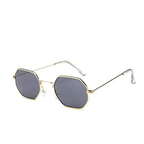 Sonnenbrille Sonnenbrillen Mode Persönlichkeit Kleine Polygonale Bunte Uv400 Sommer Sonnenbrillen Für Männer Frauen Gold Grau
