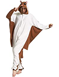 Unisex Animal Pijama Ropa de Dormir Cosplay Kigurumi Onesie Marrón Ardilla Voladora Disfraz para Adulto Entre