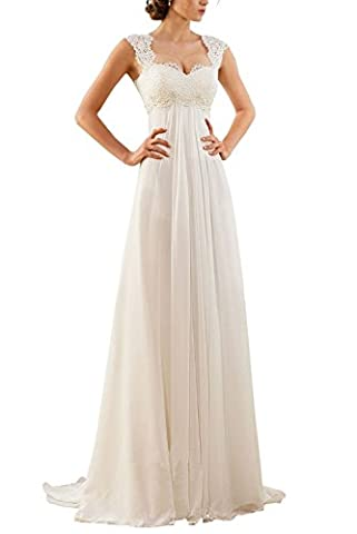 Erosebridal Ärmellos Spitze Chiffon Hochzeitskleid Brautkleid Elfenbein