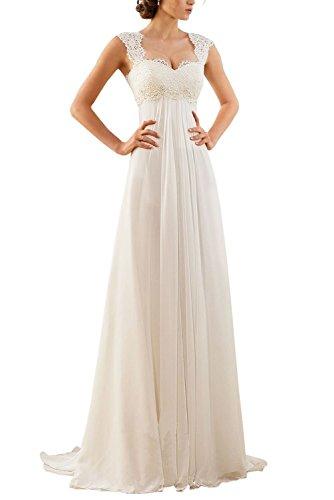 Erosebridal Ärmellos Spitze Chiffon Hochzeitskleid Brautkleid Elfenbein DE42