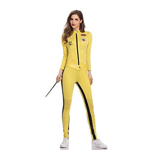 BaronHong Sexy Rennfahrer-Overall für Erwachsene Rollenspiel-Kostüm (gelb, - Sexy Rennfahrer Kostüm