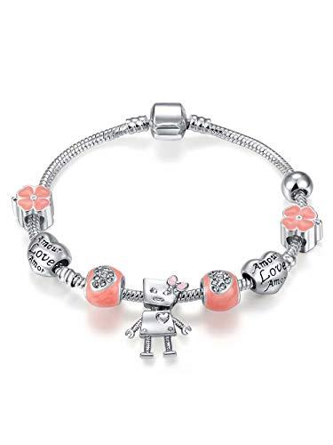 Presentski robot amor love braccialetto di perline rosa placcato argento come il giorno di natale e il regalo del ringraziamento per le ragazze figlia