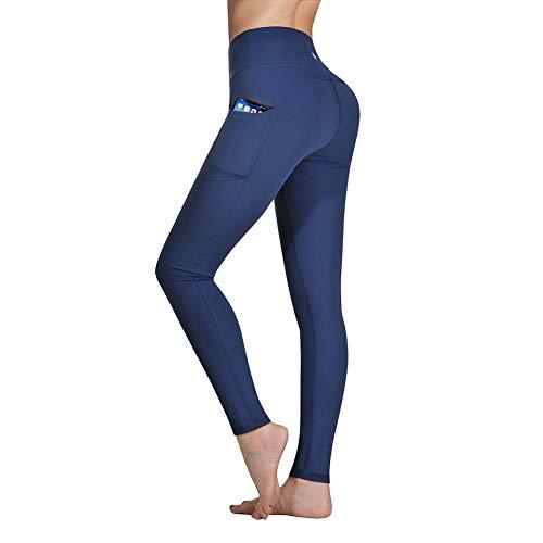 Occffy Sporthose Damen Yogahose Laufhose Fitnesshose Yoga Sport Leggings tights für Damen mit Taschen DS166 (Dunkelblau, XS) Damen-seamless-capri