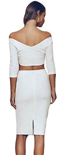 La Vogue 2pièces Robe Femme Manche Courte Épaule Nue Top Haut Jupe Moulant Blanc