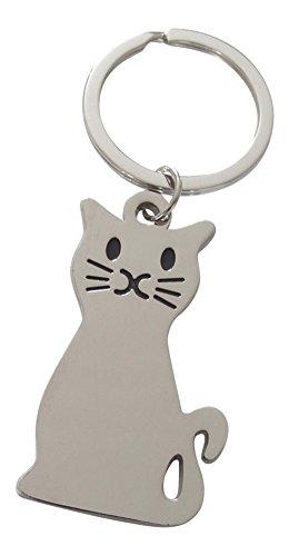 Unbekannt Schlüsselanhänger,-Schmuckstück Tasche, Mignon Katze aus Silber.