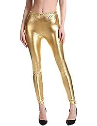 Hibote Punk Rock PU Leder Kunstleder Leggings Frauen Hosen Lila Metallic  Gold Shiny Sexy Glänzende Legging dbad3a3973