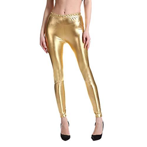 Mxssi Punk Rock Estilo PU Faux Leather Leggings Mujer Púrpura Dorado Metálico Sexy Brillante Lentejuelas Pantalones Shining Fitness Legging Gold M
