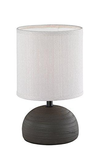Reality, Lampe de table, Luci 1xE14, max.40,0 W Tissu, Cappucino, Corps: Céramique, Brun Ø:14,0cm, H:23,0cm IP20,Interrupteur de cordon