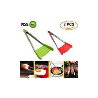 Zange Küche Werkzeug 2in1Pfannenwender Silikon und Edelstahl AS SEEN ON TV. Leicht zu reinigen, kompakt, ergonomisch bequemen Griff (2)
