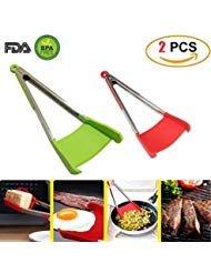 Zange Küche Werkzeug 2in1Pfannenwender Silikon und Edelstahl AS SEEN ON TV. Leicht zu reinigen, kompakt, ergonomisch bequemen Griff (2) (Grab On Griffe)