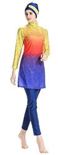 Muslimischen Damen Badeanzug Muslim Islamischen Full Cover Bescheidene Badebekleidung Modest Muslim Swimwear Beachwear Burkini (NO1, Large)