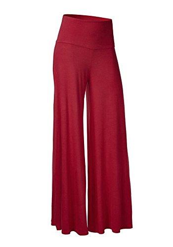 Casualqa comodo donna chic palazzo lounge pantaloni Red Wine 44