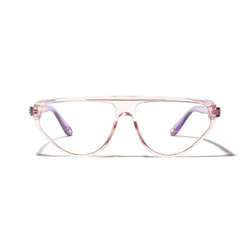 Mode Cat Eye Large Frame Optische Gläser, Unisex. Brille (Farbe : Light Pink)