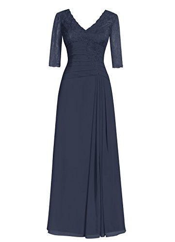 Dresstells Damen Abendkleider Bodenlang Homecoming Kleider Cocktail-Kleider Marineblau