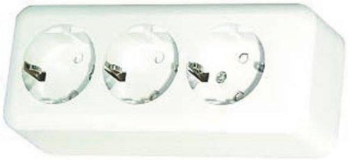 1 Stück 3-fach Schuko Steckdose Arktisweiß Aufputz Schraubanschlüsse Schutzkontakt-Dreifachsteckdose / 230V~/16A / BxHxT: 157x63x40mm