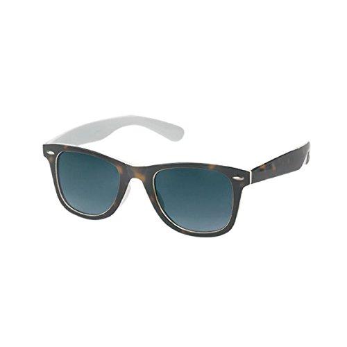 Sonnenbrille Wayfarer Nerd 400 UV außen getigert innen bunt getönt klein weiß