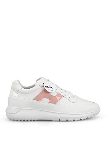 Hogan Scarpe Donna Sneakers Basse HXW3710AP21I6S0QAN H371 INTERACTIVE3 Taglia 37 Bianco-Rosa