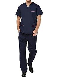 THEE Uniforme Médico Ropa Quirúrgica de Manga Corta Bata Médico Laboratorio Enfermera Sanitaria Unisex