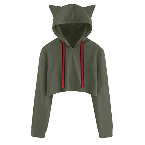 MEIbax Damen Katze Lange Hülsen Hoodie Sweatshirt mit Kapuze Pullover Kurze Oberseiten Bluse